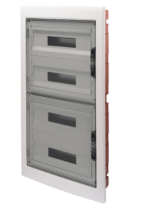 DISTRIBUTION BOARD WITH SMOKED TRANSPARENT DOOR (18X4) 72 MODULES IP40