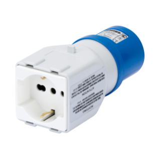 SYSTEM ADAPTOR - FROM INDUSTRIAL TO DOMESTIC IP44 - SOCKET-OUTLET 2P+E 16A 230V ac 50/60HZ - 1 PLUG 2P+E 10/16A DUAL AMP (P30/P17)