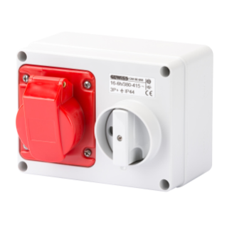 FIXED INTERLOCKED HORIZONTAL SOCKET-OUTLET - WITH BOTTOM - WITHOUT FUSE-HOLDER BASE - 2P+E 16A 380-415V - 50/60HZ 9H - IP44
