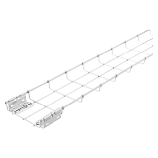 GALVANIZED WIRE MESH CABLE TRAY BFR30 - PRE-MOUNTED COUPLERS - LENGTH 3 METERS - WIDTH 50MM - FINISHING: INOX