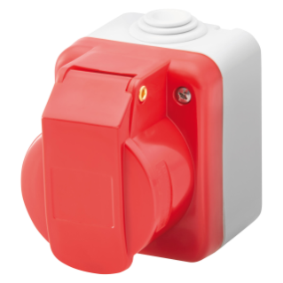 WALL-MOUNTING INDUSTRIAL SOCKET-OUTLET TO IEC 309 STANDARD - 3P+E - 400V - IP44 - GREY RAL 7035