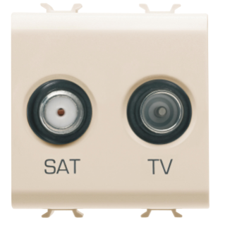 SOCKET-OUTLET TV-SAT - DIRECT - 2 MODULES - IVORY - CHORUS