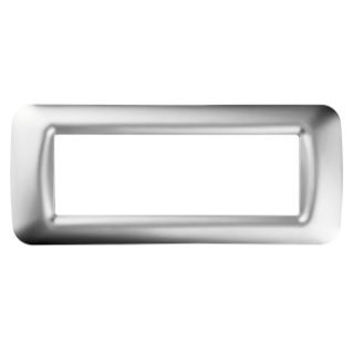 TOP SYSTEM PLATE - IN TECHNOPOLYMER GLOSS FINISH - 6 GANG - SOFT CHROME - SYSTEM