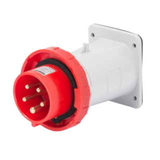 STRAIGHT FLUSH MOUNTING INLET - IP67 - 2P+E 32A 380-415V 50/60HZ - RED - 9H - SCREW WIRING