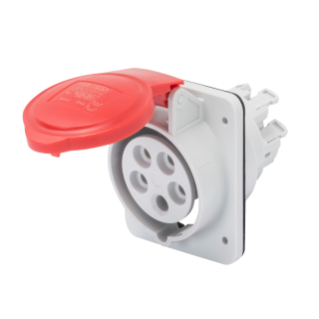 10° ANGLED FLUSH-MOUNTING SOCKET-OUTLET HP - IP44/IP54 - 2P+E 16A 380-415V 50/60HZ - RED - 9H - FAST WIRING
