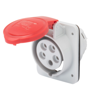 10° ANGLED FLUSH-MOUNTING SOCKET-OUTLET HP - IP44/IP54 - 3P+N+E 16A 380-415V 50/60HZ - RED - 6H - SCREW WIRING