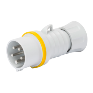 STRAIGHT PLUG HP - IP44/IP54 - 3P+N+E 32A 100-130V 50/60HZ - YELLOW - 4H -  FAST WIRING