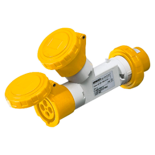 MULTIPLE SOCKET-COUPLERS 2 OUTPUTS IP67 - PLUG 16A - 2 SOCKET-OUTLETS 2P+E 110V 50/60HZ - YELLOW - 4H