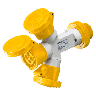 MULTIPLE SOCKET-COUPLERS 3 OUTPUTS IP67 - PLUG 16A - 2 SOCKET-OUTLETS 3P+E 110V 50/60HZ - YELLOW - 4H