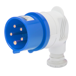 90° PLUG - IP44 - 3P+N+E 16A 200-250V 50/60HZ - BLUE - 9H - SCREW WIRING