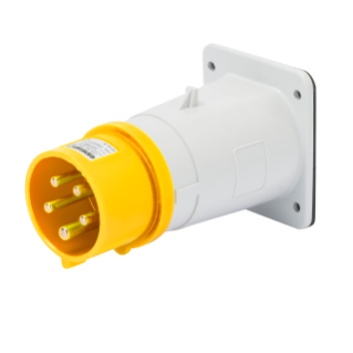 STRAIGHT FLUSH MOUNTING INLET - IP44 - 3P+E 16A 100-130V 50/60HZ - YELLOW - 4H - SCREW WIRING