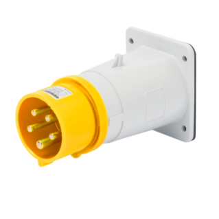 STRAIGHT FLUSH MOUNTING INLET - IP44 - 3P+N+E 32A 100-130V 50/60HZ - YELLOW - 4H - SCREW WIRING