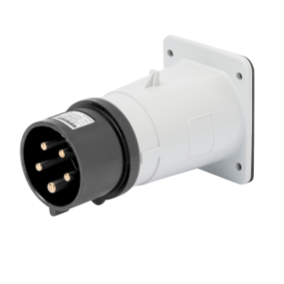 STRAIGHT FLUSH MOUNTING INLET - IP44 - 3P+N+E 32A 480-500V 50/60HZ - BLACK - 7H - SCREW WIRING