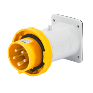 STRAIGHT FLUSH MOUNTING INLET - IP67 - 2P+E 32A 100-130V 50/60HZ - YELLOW - 4H - SCREW WIRING