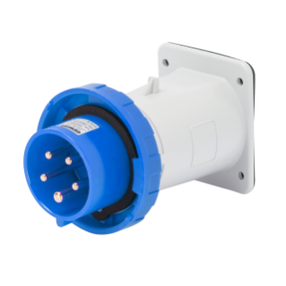 STRAIGHT FLUSH MOUNTING INLET - IP67 - 3P+E 16A 200-250V 50/60HZ - BLUE - 9H - SCREW WIRING