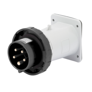 STRAIGHT FLUSH MOUNTING INLET - IP67 - 3P+N+E 32A 480-500V 50/60HZ - BLACK - 7H - SCREW WIRING