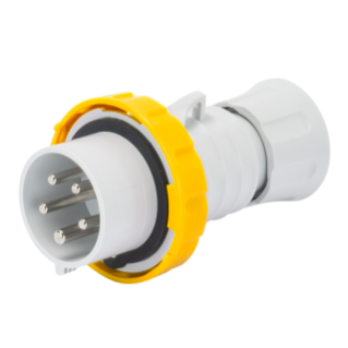 STRAIGHT PLUG HP - IP66/IP67/IP68/IP69 - 3P+E 16A 100-130V 50/60HZ - YELLOW - 4H - SCREW WIRING