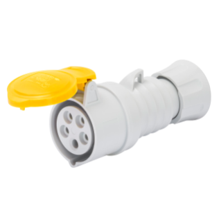 STRAIGHT CONNECTOR HP - IP44/IP54 - 2P+E 32A 100-130V 50/60HZ - YELLOW - 4H - FAST WIRING