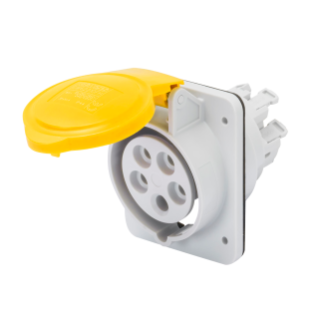 10° ANGLED FLUSH-MOUNTING SOCKET-OUTLET HP - IP44/IP54 - 3P+N+E 32A 100-130V 50/60HZ - YELLOW - 4H - FAST WIRING