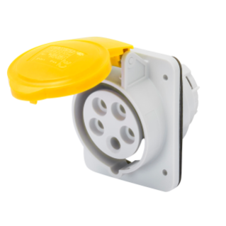 10° ANGLED FLUSH-MOUNTING SOCKET-OUTLET HP - IP44/IP54 - 3P+N+E 16A 100-130V 50/60HZ - YELLOW - 4H - SCREW WIRING