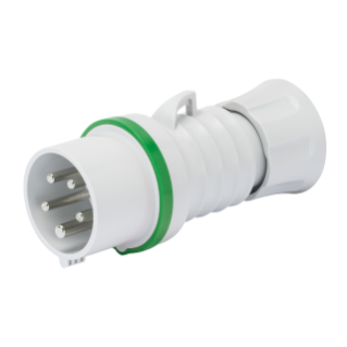 STRAIGHT PLUG HP - IP44/IP54 - 3P+N+E 32A >50V >300-500HZ - GREEN - 2H - SCREW WIRING