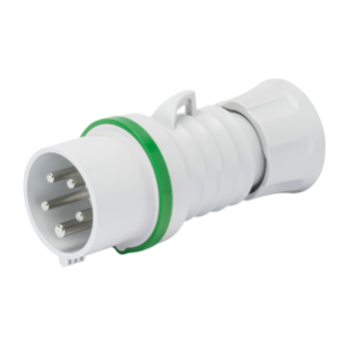 STRAIGHT PLUG HP - IP44/IP54 - 2P+E 16A >50V >300-500HZ - GREEN - 2H - SCREW WIRING