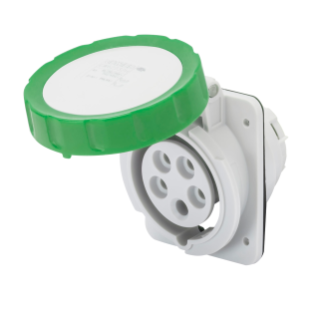 10° ANGLED FLUSH-MOUNTING SOCKET-OUTLET HP - IP66/IP67 - 2P+E 16A >50V 100-300HZ - GREEN - 10H - SCREW WIRING