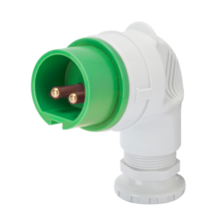 90° PLUG - IP44 - 2P 32A 20-25V and 40-50V 100-200HZ - GREEN - 4H - SCREW WIRING