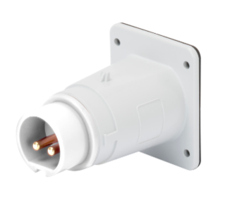 STRAIGHT FLUSH MOUNTING INLET - IP44 - 2P 32A 40-50V 50-60HZ - WHITE - 12H - SCREW WIRING