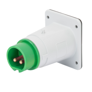 STRAIGHT FLUSH MOUNTING INLET - IP44 - 2P 16A 20-25V and 40-50V 401-500HZ - GREEN - 11H - SCREW WIRING