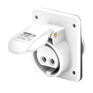 10° ANGLED FLUSH-MOUNTING SOCKET-OUTLET - IP44 - 2P 32A 40-50V 50-60HZ - WHITE - 12H - SCREW WIRING