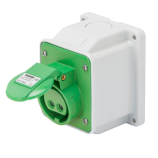10° ANGLED SURFACE-MOUNTING SOCKET-OUTLET - IP44 - 2P 16A 20-25V and 40-50V 401-500HZ - GREEN - 11H - SCREW WIRING