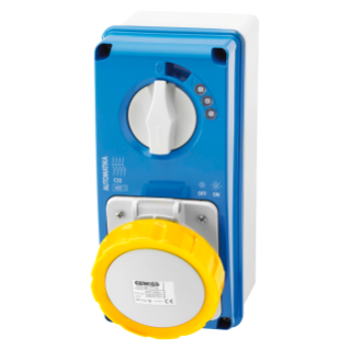 VERTICAL FIXED INTERLOCKED SOCKET OUTLET - AUTOMATIKA - MT 6KA CURVE C - WITH BOTTOM - 3P+E 32A 110V 4H - IP67
