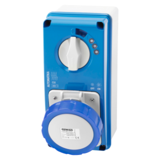 VERTICAL FIXED INTERLOCKED SOCKET OUTLET - AUTOMATIKA - MT 6KA CURVE C - WITH BOTTOM - 3P+N+E 32A 230V 9H - IP67