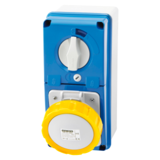 VERTICAL FIXED INTERLOCKED SOCKET OUTLET - WITH BOTTOM - WITH FUSE-HOLDER BASE - 3P+E 32A 100-130V - 50/60HZ 4H - IP67