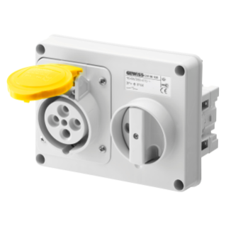 FIXED INTERLOCKED HORIZONTAL SOCKET-OUTLET - WITHOUT BOTTOM - WITHOUT FUSE-HOLDER BASEA - 3P+N+E 16A 100-130V - 50/60HZ 4H - IP44