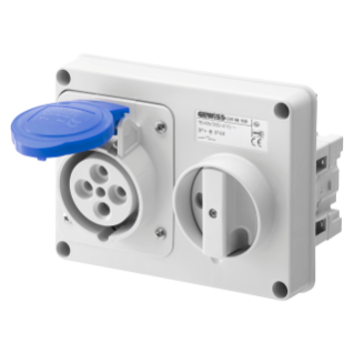 FIXED INTERLOCKED HORIZONTAL SOCKET-OUTLET - WITHOUT BOTTOM - WITHOUT FUSE-HOLDER BASE - 3P+E 16A 200-250V - 50/60HZ 9H - IP44