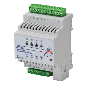KNX 4-channel 10 A actuator + 4 universal inputs - IP 20 - DIN rail mounting