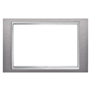 LUX PLATE - BRITISH STANDARD - METAL - 2 GANGS - BRUSHED STAINLESS STEEL - CHORUS