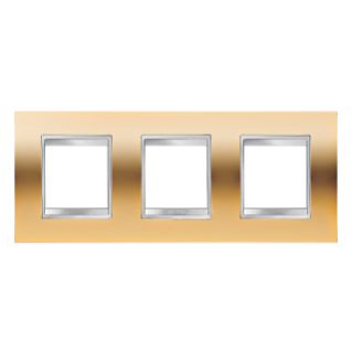 LUX INTERNATIONAL PLATE - IN METALLISED TECHNOPOLYMER - 2+2+2 GANG HORIZONTAL - GOLD - CHORUS