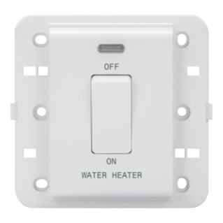 ONE-WAY SWITCH 2P 250V ac - BRITISH STANDARD - 20 A - 1 GANG - WATER HEATER - WHITE - CHORUS