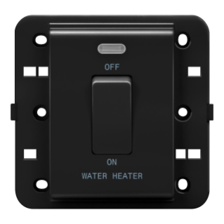 ONE-WAY SWITCH 2P 250V ac - BRITISH STANDARD - 20 A - 1 GANG - WATER HEATER - BLACK - CHORUS