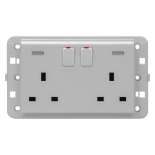 TWIN SWITCHED SOCKET-OUTLET - BRITISH STANDARD - 2P+E 13 A - BACKLIT - TITANIUM - CHORUS