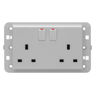 TWIN SWITCHED SOCKET-OUTLET - BRITISH STANDARD - 2P+E 13 A - TITANIUM - CHORUS