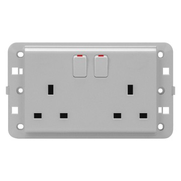BS twin switched socket-outlets - 250 V ac
