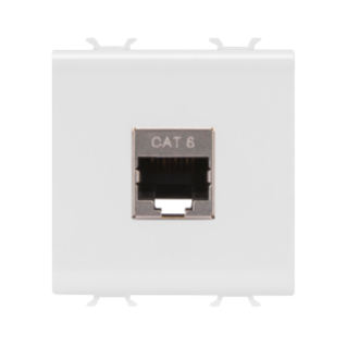 RJ45 SOCKET OUTLET - CATEGORY 6 - FTP - 2 MODULES - WHITE - CHORUS