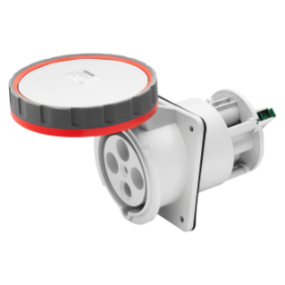 10° ANGLED FLUSH-MOUNTING SOCKET-OUTLET - IP67 - 3P+N+E 125A 380-415V 50/60HZ - RED - 6H - WITH CLEAN CONTACT