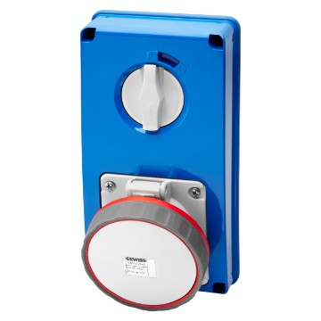 Interlocked switched vertical socket-outlets without bottom - with rotary switch without fuse-holder base - 63A - 50/60Hz - IP67
