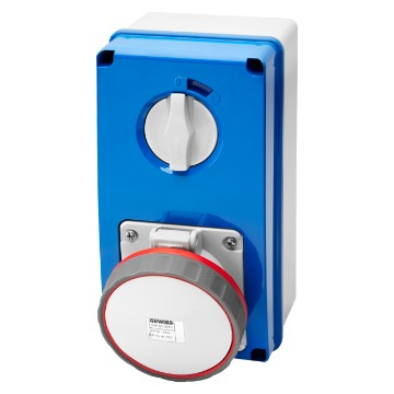 Interlocked switched vertical socket-outlets with bottom and rotary switch without fuse-holder base - 63A - 50/60Hz - IP67