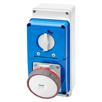 Interlocked switched vertical socket-outlets with bottom - with rotary switch and fuse-holder base - 63A - 50/60Hz - IP67